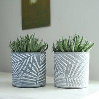 Palm Fronds Cement Plant Pot