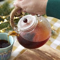 Glass Teapot Kettle With Hammered Texture