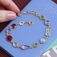 Rainbow Gemstone Bracelet In 18ct Gold Vermeil, Gold