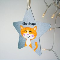 Cat Christmas Decoration Personalised Silver Printed