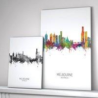 Melbourne Skyline Portrait Print And Box Canvas