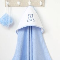 Personalised Blue Baby Hooded Towel With Letter