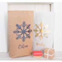 Personalised Glitter Snowflake Paper Christmas Sack, White/Red/Black