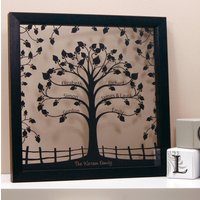 Personalised Traditional Family Tree Papercut, White/Black