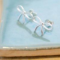 Sterling Silver Gift Bow Stud Earrings, Silver