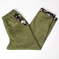Mens Olive Corduroy Rolled Hem Cropped Trousers