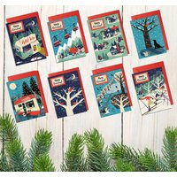 Pack Of Eight Nordic Style Christmas Cards