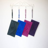 Personalised Envelope Suede Colourful Clutch Bag