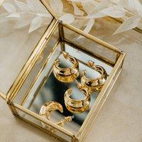 Sophia Dome Gold 90s Style Hoop Earrings, Gold