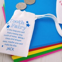 Personalised Tooth Fairy Bag, Pink/Blue