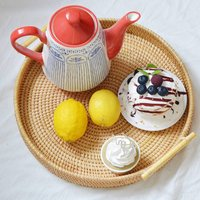 Round Rattan Serving Tray Bread Basket With Handles