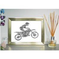 Motocross Motorbike And Rider Personalised Print, Blue/Black
