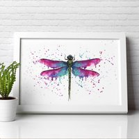 Dragonfly Painting Illustration Print Poster