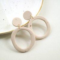 Cream Speckled Organic Hoop Dangle Earrings