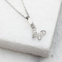 18ct White Gold And Diamond Set Butterfly Necklace, Gold