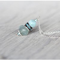 Aquamarine And Silver Necklace, Silver