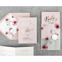 Cherry Blossom Folding Wedding Invitation