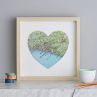 Personalised Location Brighton Map Heart Print