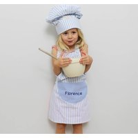 Childs Blue Stripe Chef Baking Apron And Hat Set
