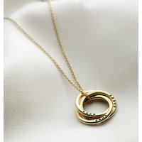 Personalised Yellow Gold Russian Ring Necklace, Gold