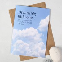 Personalised 'Dream Big Little One' New Baby Card