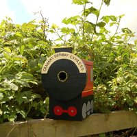 Personalised Steam Train Bird Box, Red/Blue/Green