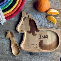 Kids Bamboo Unicorn Plate And Spoon
