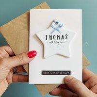 Luxury New Baby Card With Ceramic Star Keepsake