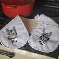 Personalised Pair Of Cat Oven Gloves