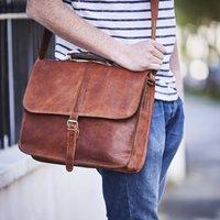 Leather Messenger Laptop Bag, Gold