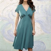 1930s Style Crepe Day Dress In A Venice Blue