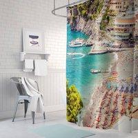 Positano Beach Fabric Shower Curtain