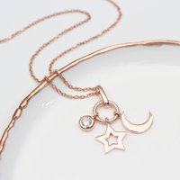 18ct Rose Gold Moon And Stars Personalised Necklace, Gold
