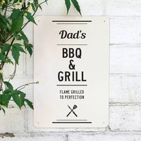 Personalised Bbq And Grill Metal Sign, Black/Grey/Red