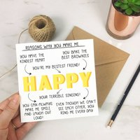 Personalised 'Reasons Why You Make Me Happy' Card