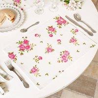 Set Of Four Helmsley Blush Cotton Floral Placemats