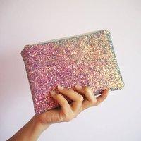 Glitter Makeup Bag, Bright Pink/Pink/Rose Gold