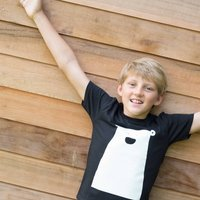 Organic Bear Children T Shirt, White/Black/Blue