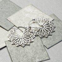 Sterling Silver Geometric Flower Hoop Earrings, Silver