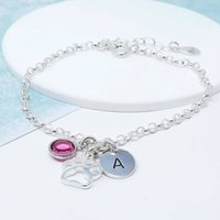 Personalised Sterling Silver Paw Print Bracelet, Silver