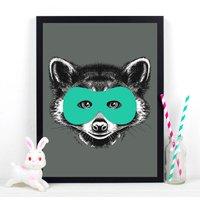 Superhero Raccoon Childrens Print, Mint Green/Mint/Green