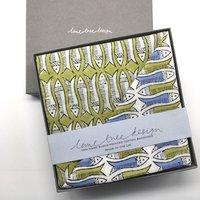 Box Of Two Block Printed Bandanas Olive And Blue Fish