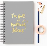 Brilliant Ideas Foiled Notebook, Ivory/White/Midnight Blue