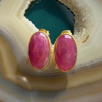 Gold Oval Red Sapphire Birthstone Stud Earrings, Gold