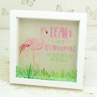 Personalised Pink Flamingo Box Framed Print