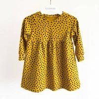 Mustard Dotty Childrens Dress