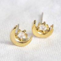 Moon And Crystal Stud Earrings