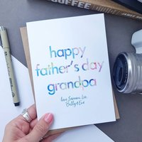 Father's Day Card For Grandpa | Personalised, Blue/Grey