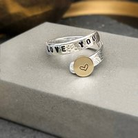Love You Sterling Silver And 9ct Gold Wrap Ring, Silver