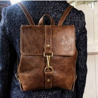 Handcrafted Small Brown Backpack